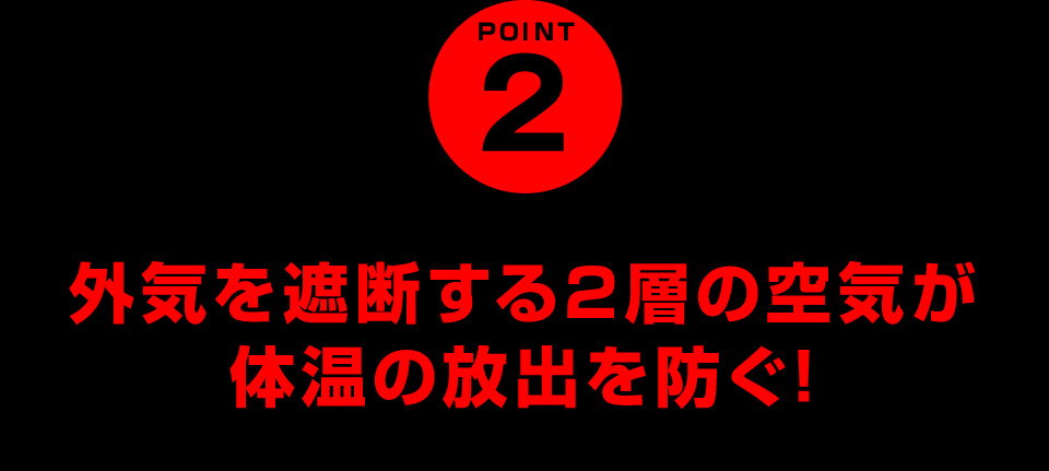 POINT2 外気を遮断する2層の空気が体温の放出を防ぐ!