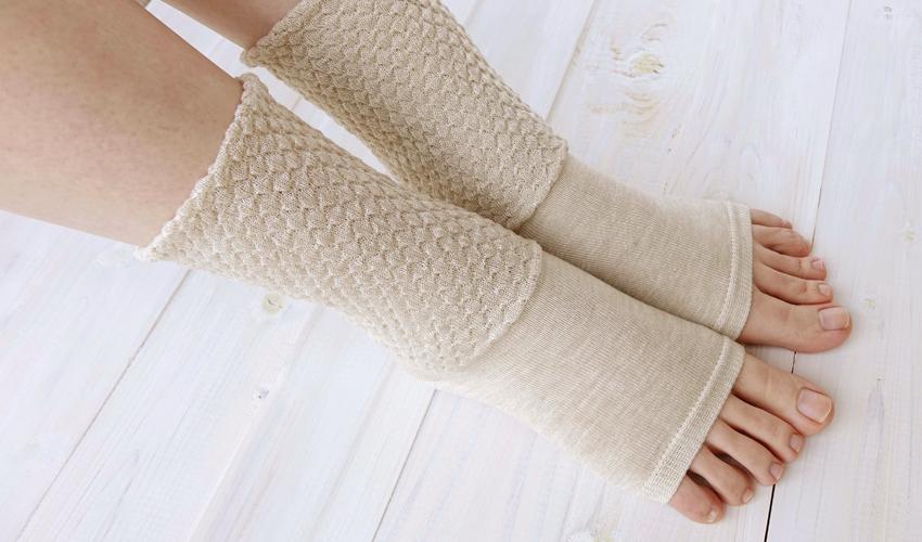 シルク ゆったり編みのおやすみソックス